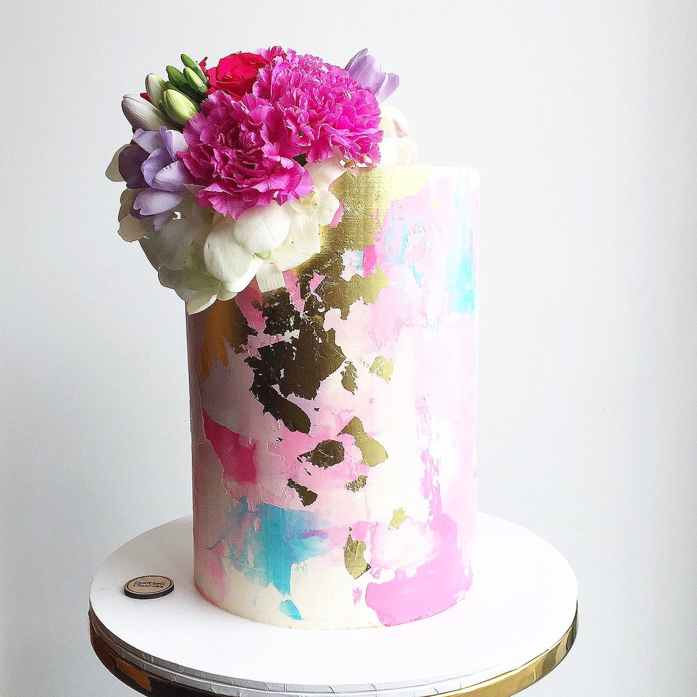 Pink and Blue Celebration Cake