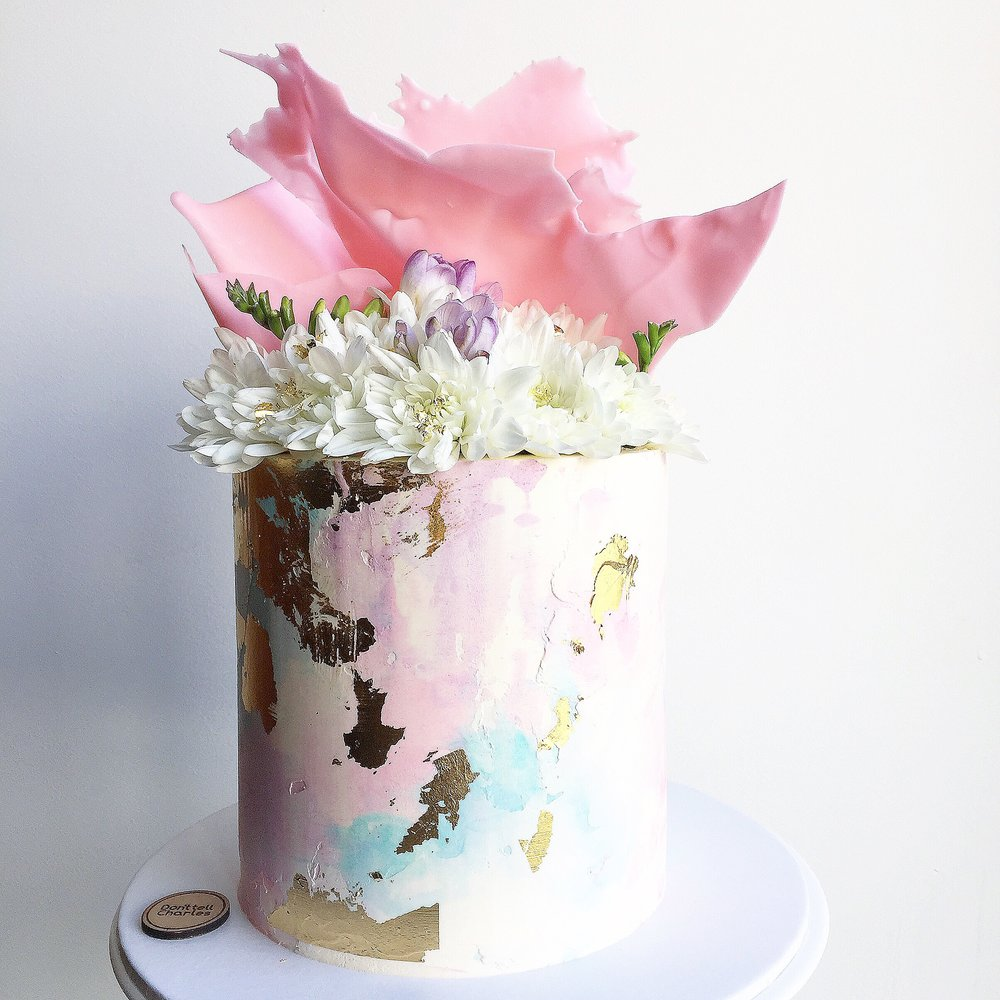 Pastels and Flowers Celebration Cake