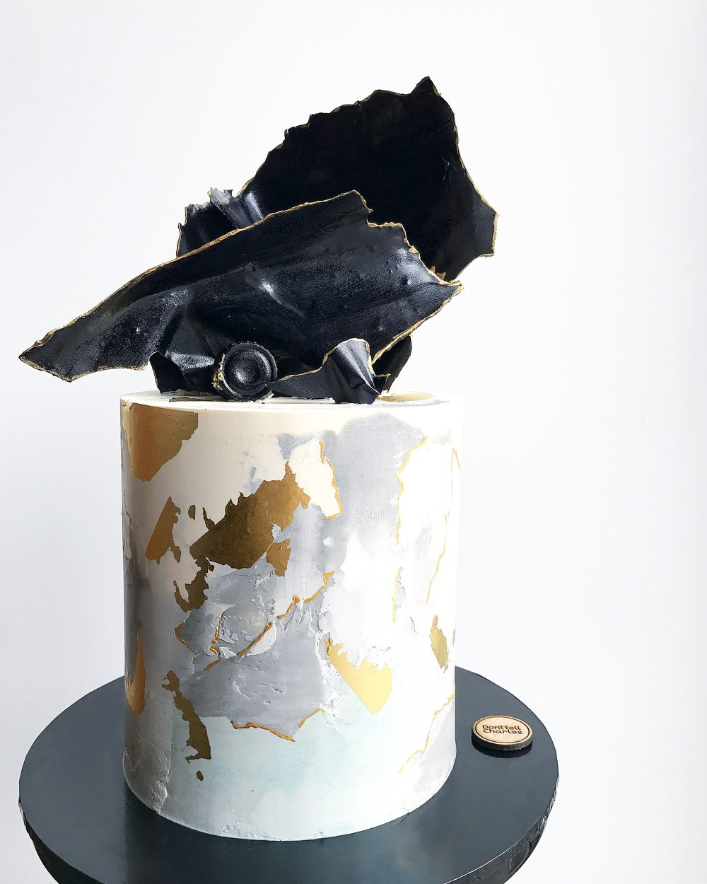 Black, Grey and gold Celebration Cake