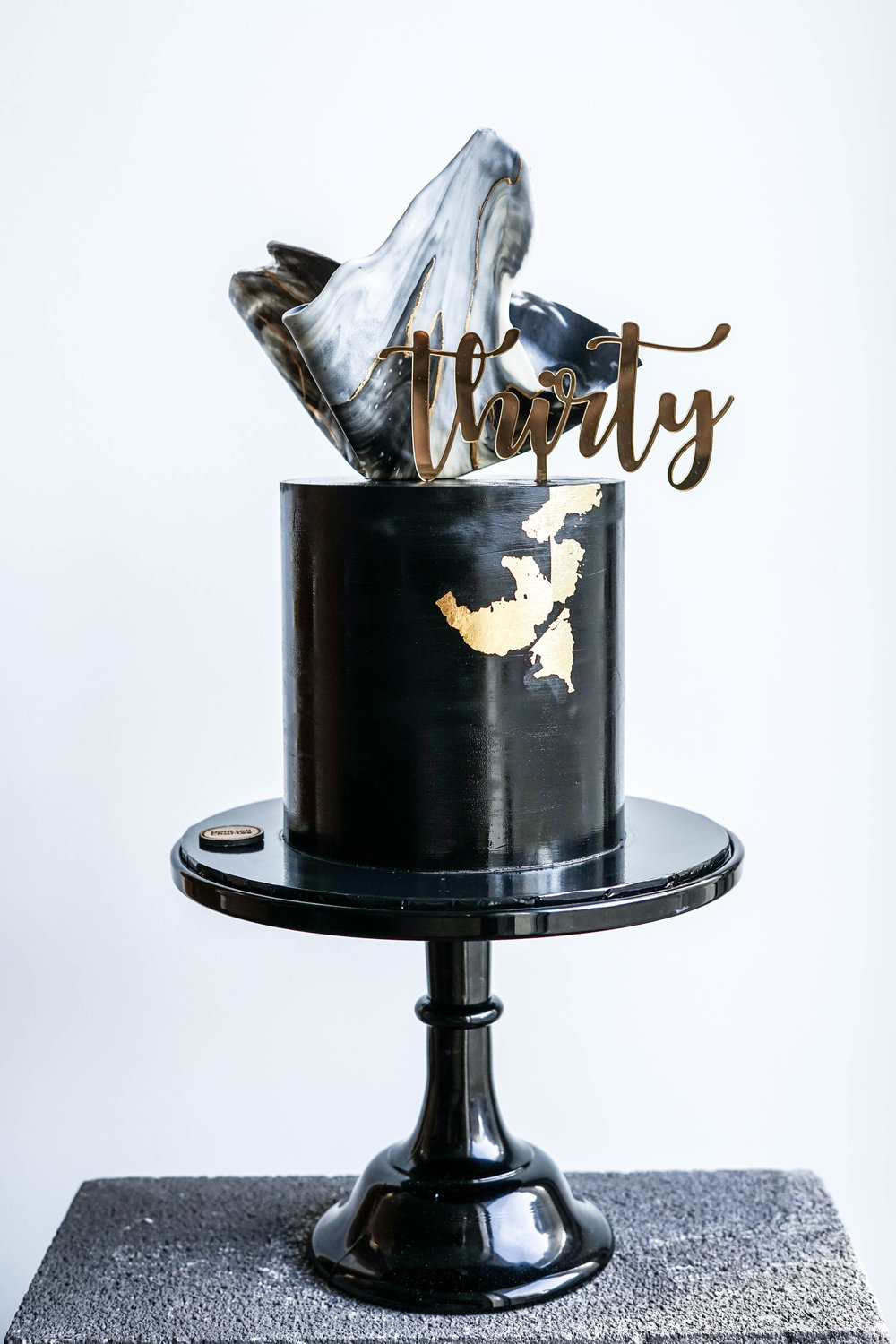 Black, Marble and Gold Celebration Cake