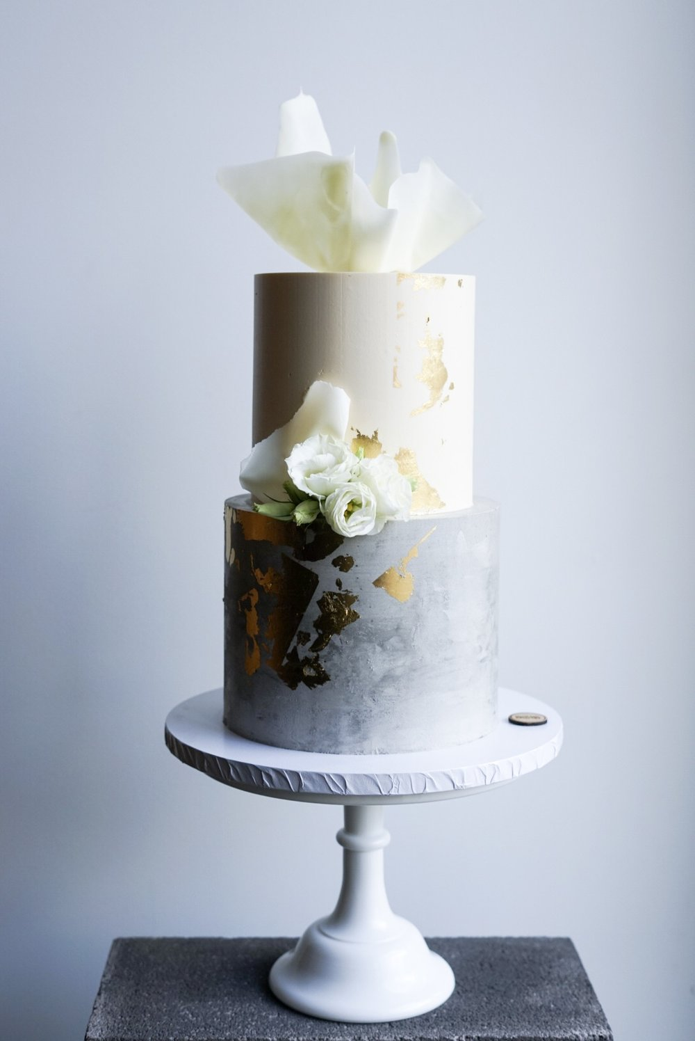 White, Gold and Concrete Wedding Cake