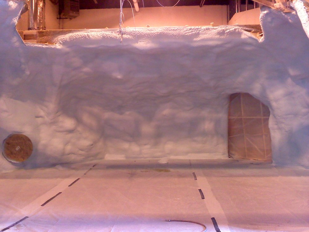 A cave made of urethane spray foam for a local production company on a movie set.