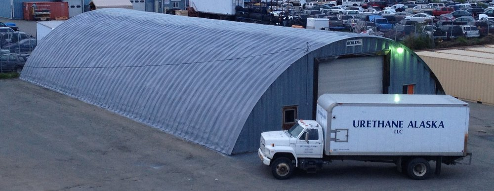 Industrial exterior quanset hut with urethane and polyshield coating.