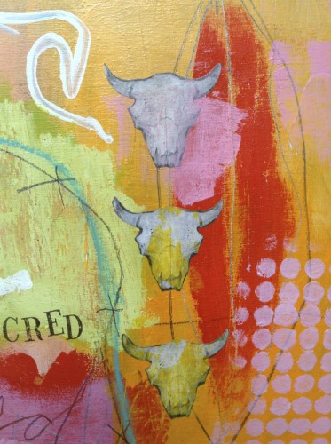 "Detail of ""All Sacred"" mixed media painting."
