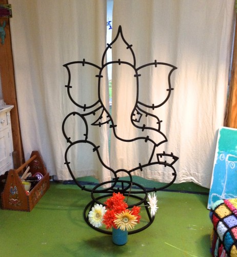 Ganesha steel frame arrives in my glass studio!!