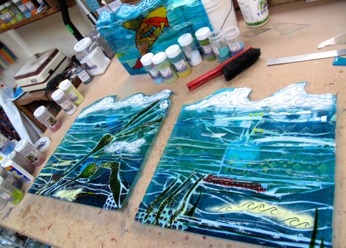 2 Side panels of fused glass commission ready to go in the kiln for fusing.