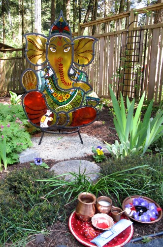 Ganesha in his new garden home at Yoga Sadhana Mandir.