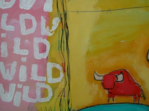 Wild Buffalo, mixed mediaon panel (detail)
