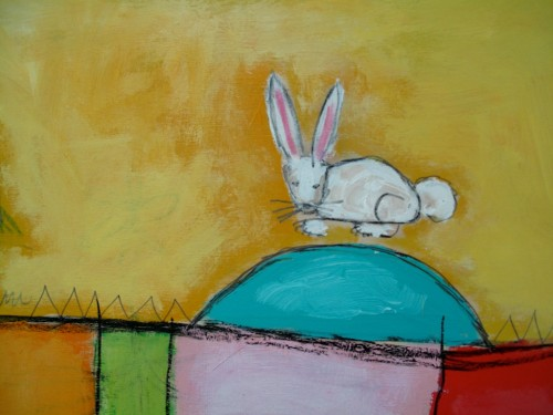 Brave Bunny, mixed media on panel (detail)