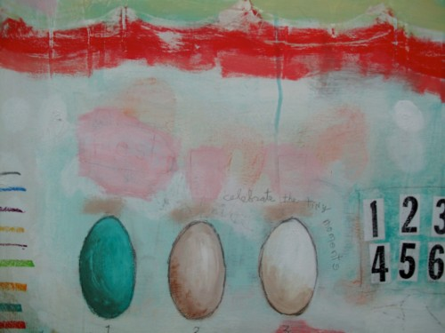 "Eggs, detail shot of ""Tiny Moments"" mixed media acrylic painting on panel."