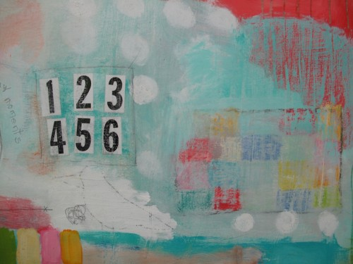 "Numbers,  detail shot of ""Tiny Moments"" mixed media acrylic painting on panel.  3 ft x 3 ft"