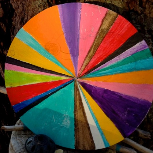 Painted colourwheel, pinwheel where it all began.