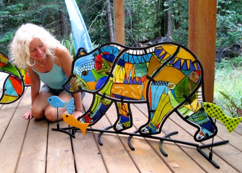 Me and my Honey Bear, fused glass and steel sculpture.