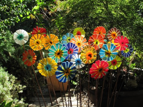 Fused glass flowers, already installed from a previous purchase by this collector. Nice home!