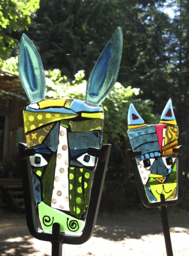 Donkey and Cat, fused glass for the garden.