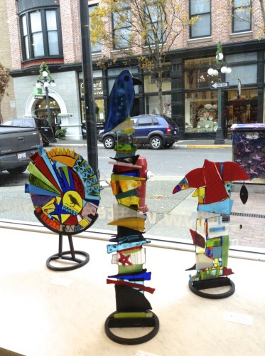 Fused glass totems and sculptural pieces at west end gallery, victoria