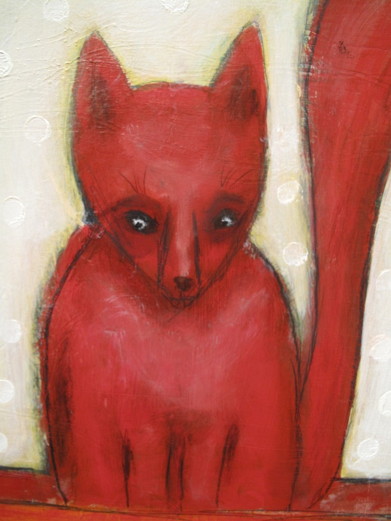Red Coyote Mixed media painting
