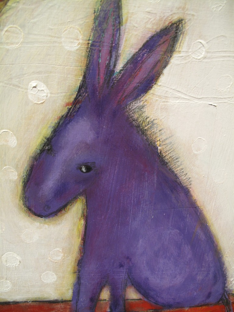 Soft and Gentle Donkey mixed media painting