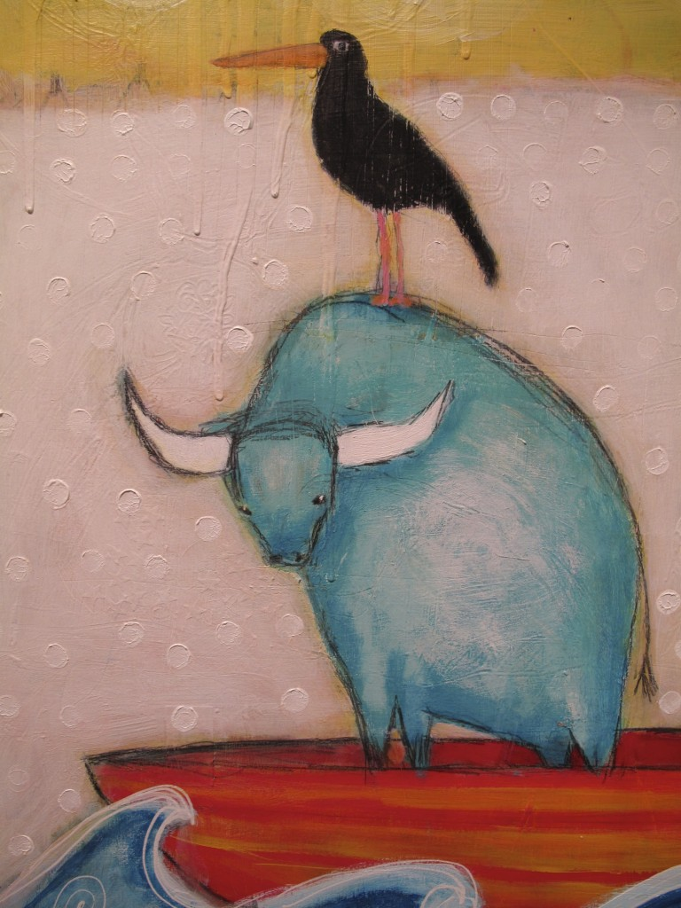 Turquoise Buffalo and bird friend