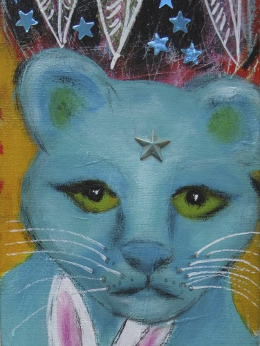 Blue Cougar, mixed media painting