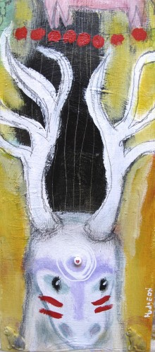 Ghost Deer, mixed media painting