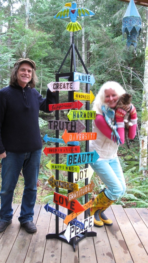 Us and our Path to an Inspired Life, steel and glass sculpture