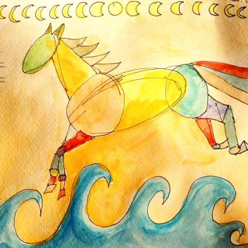 Sea of Possibility Pony, watercolour and ink.