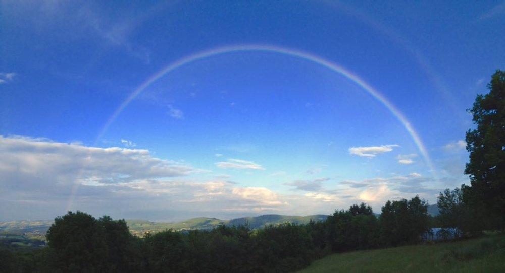 A beautiful rainbow landing in the greenhouse here at Lavenant //Un magnifique arc-en-ciel se posant sur la serre a Lavenant