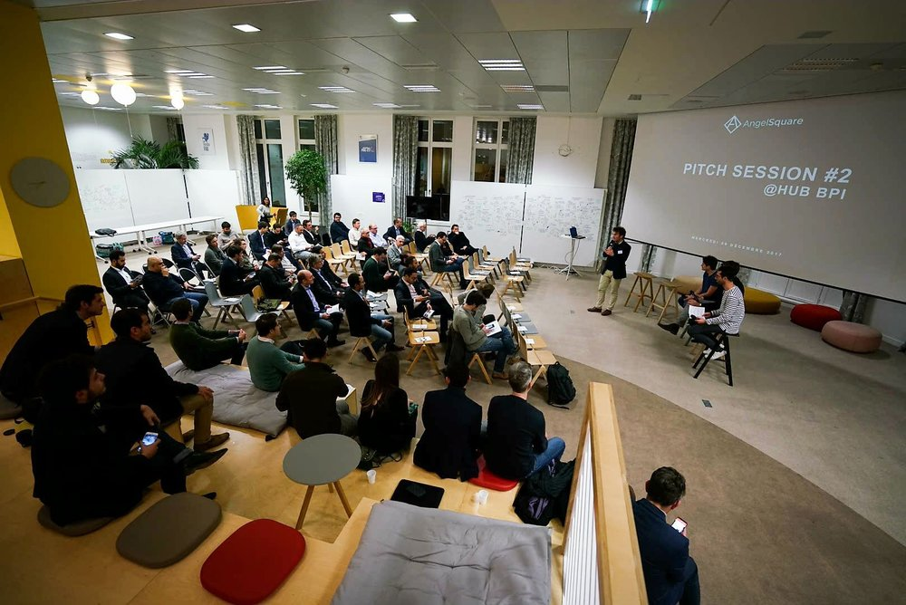 Pitch Session #2 @Hub BPI - 06/12/20178 startups, selected by AngelSquare on strict criteria each pit 3 minutes before a few investors in our community.Then they confronted our jury composed of Alexis Robert, Partner at Kima Ventures, and Hugues de Braucourt, Partner at Global Founders Capital.