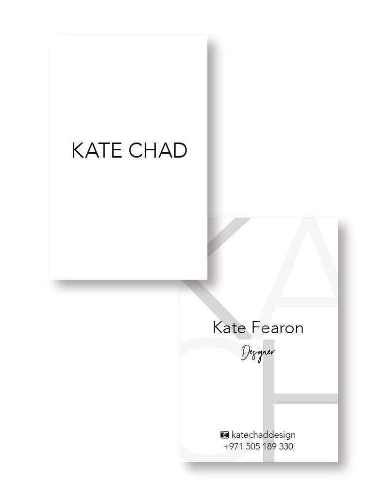 my branding process for KATE CHAD | business cards | MNFL Design
