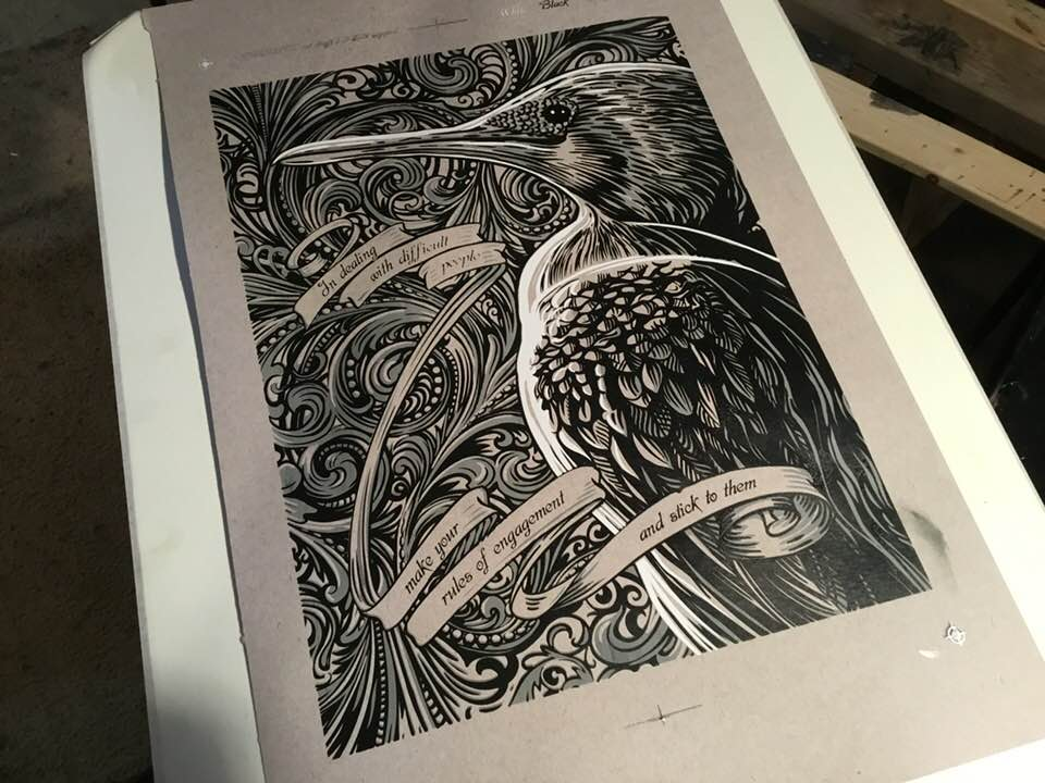 The ink on the paper has a nice heavy, tactile feel; these artworks are satisfying to touch and hold… and then frame so nobody can ever touch them again.