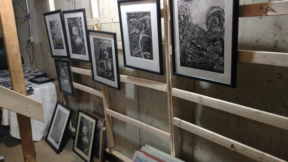 framed artworks ready to go, but sadly trapped in my basement, longing wistfully for gallery space.