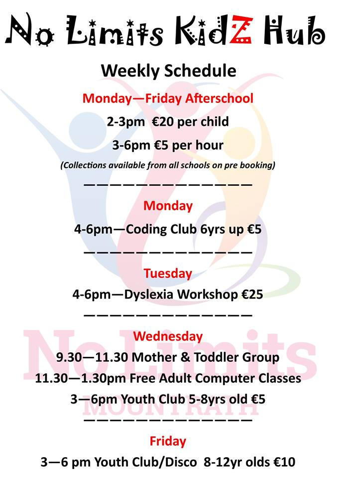 - Afterschool, extracurricular activities and camp programmes are aimed at promoting the benefits of play, participation & social inclusion, while improving self confidence and mental health.Open Monday - Friday, 2pm - 6pm.For more information call Call (057) 874 1470Check us out on Facebook for info on all our camps over the summer : @nolimitsmountrath