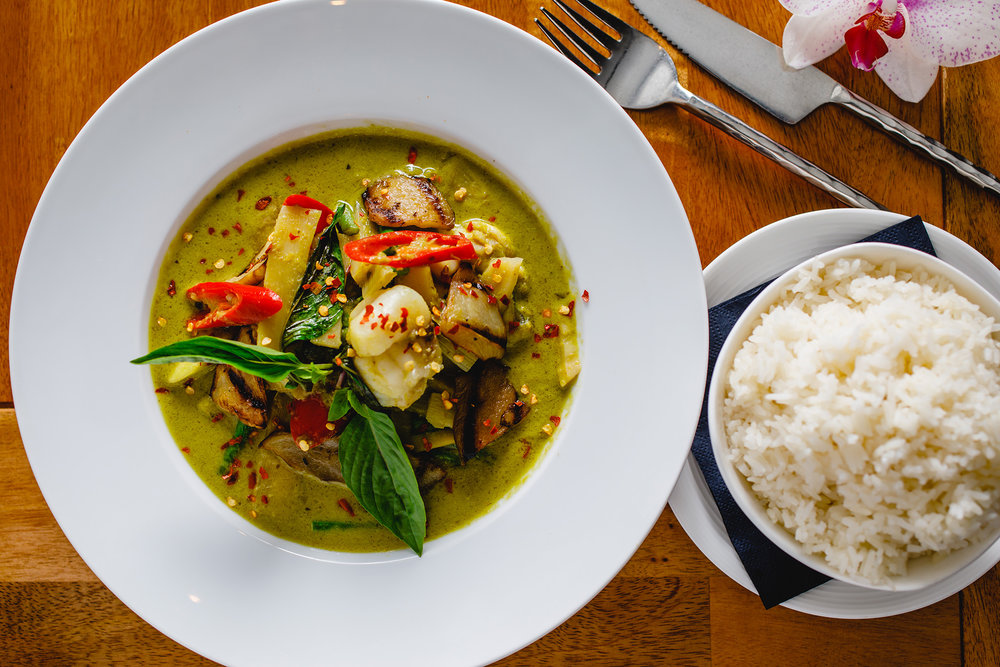 Thai green curry with monkfish at Sabai Sabai