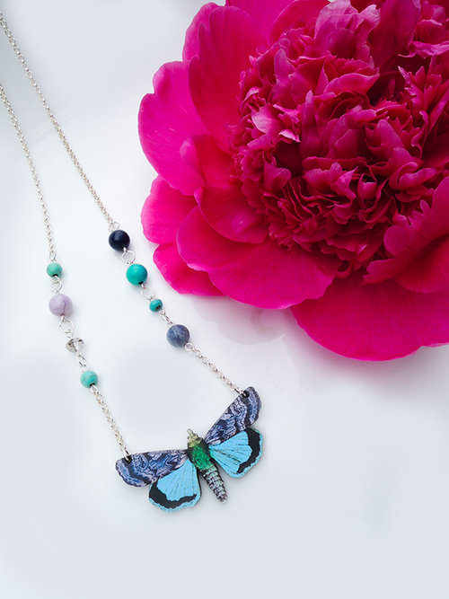 glow item glowing necklace blue the gl pendant insect butterfly dark jewelry in