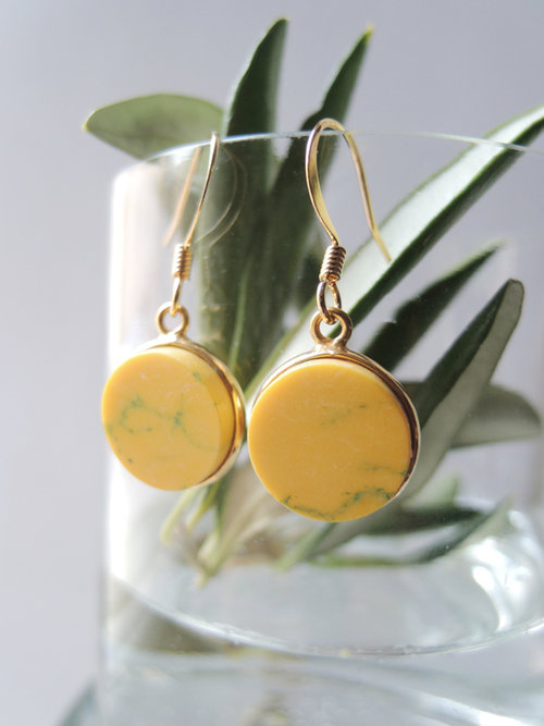 earrings sediment round color nikkotakko jasper copy yellow jewelry riot