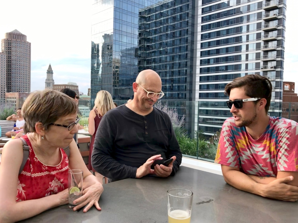Angela, Dave, and Mat on the posh rooftop lounge of Yotel, Boston.