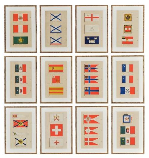 A set of Antique Naval Flag Lithographs — Etalage UK