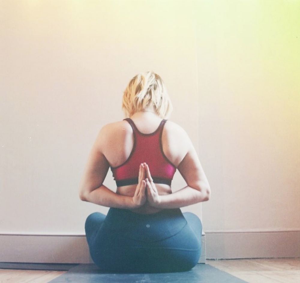 When performed behind the back, Anjali Mudra becomes Pashim Namaskarasana or, as it is more commonly known, Reverse Prayer. -
