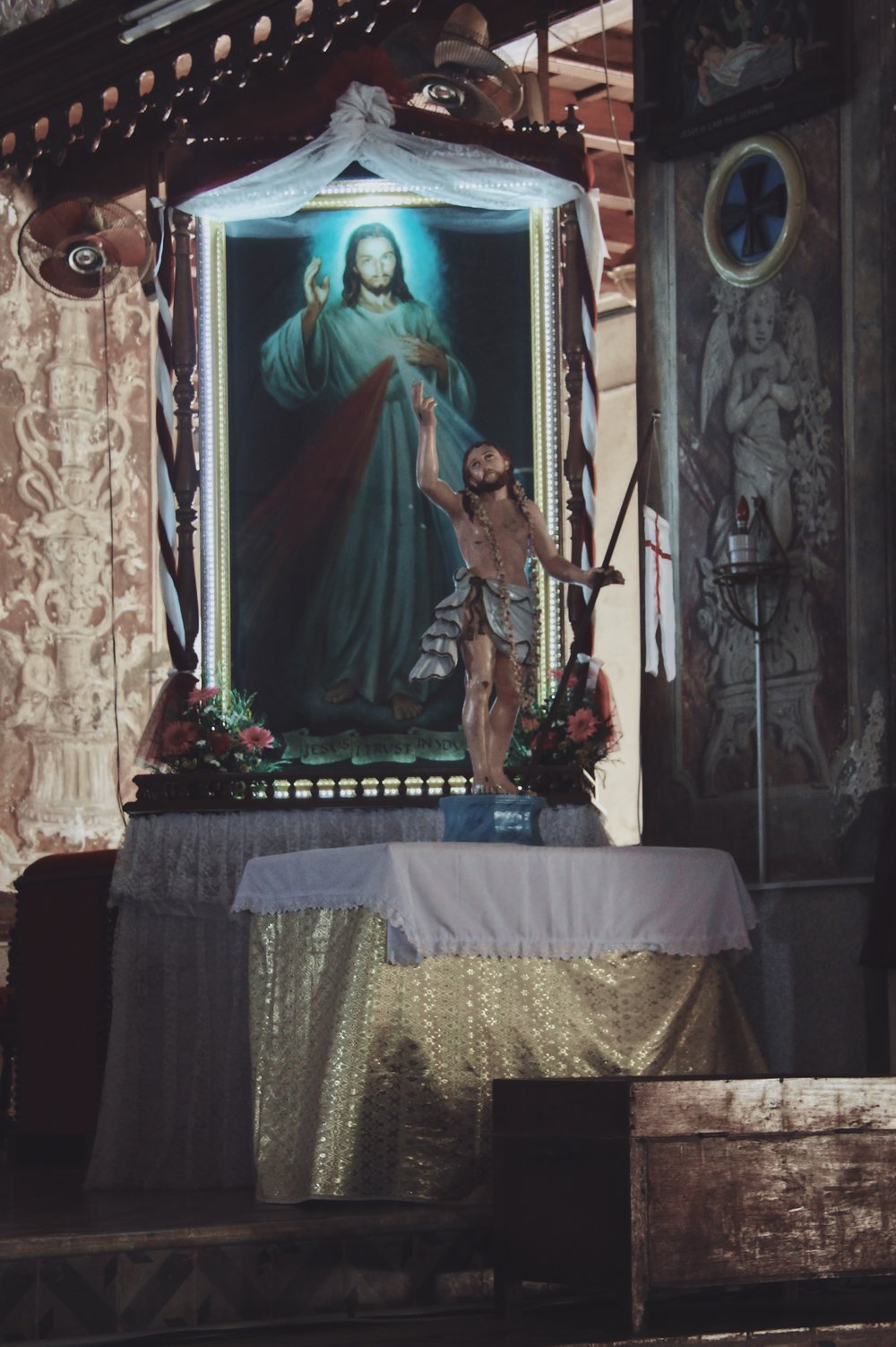 An altar dedicated to Jesus Christ in Santa Cruz Cathedral Basilica in Fort Kochi, Kerala. -