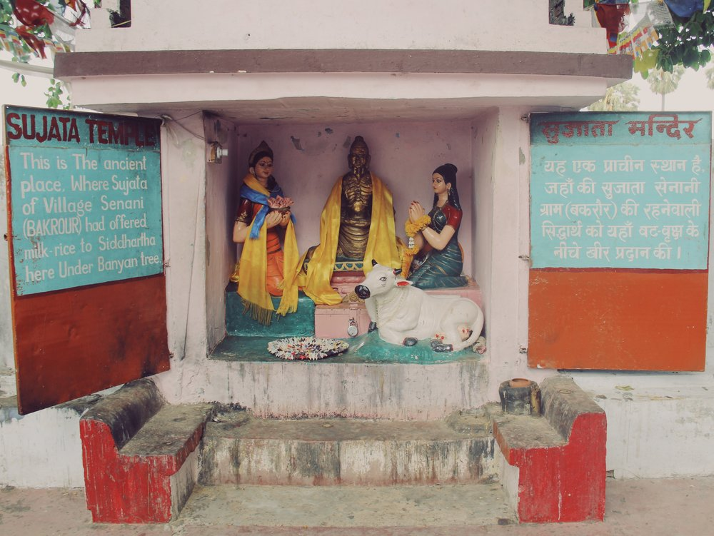 Sujatha Temple in Bodh Gaya is dedicated to the tribal woman Sujatha who fed Buddha his first morsel of food after having reached enlightenment during a six-year meditation.