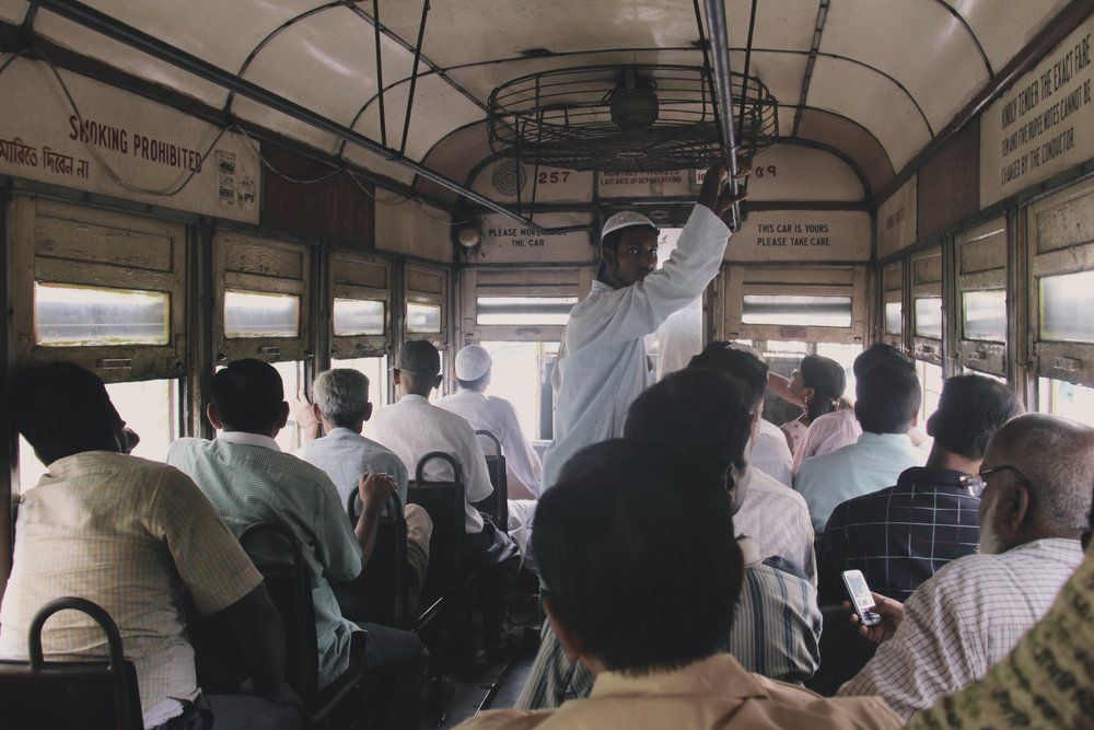 Making connections on a tram in Kolkata