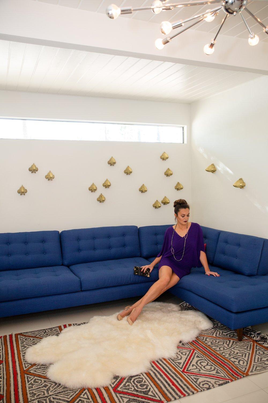 Nicole Miller Purple Dress Lounging Studio Carre March 2017