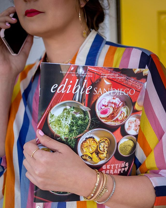 """I met @katiefromediblesd at the January @pranzopopup event.  Katie is the publisher of Edible magazine.  Ed•i•ble is an adjective meaning """"fit to be eaten"""". Although I enjoy flipping through the hard copy, the Spring 2019 edition is also available online at ediblesandsandiego.com If you are like me and enjoy looking at, preparing, learning about, and finally eating fresh food, Edible San Diego is for you.  Take a peak, you won't be disappointed. My favorite article in this issue is """"13 ways to save what's Edible"""". Who doesn't want to learn how to make the food in your kitchen go a little farther? ✨JEWELS by @julezbryant 🌈by @xirena_ from @sea.and.wander"""