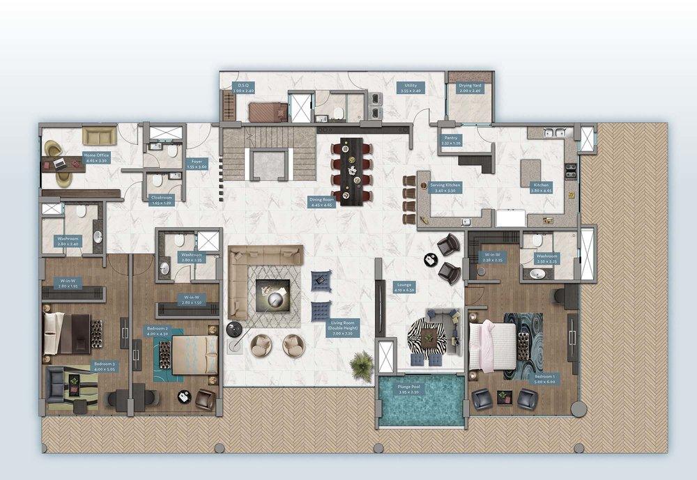 Shanzu View Garden Villa | Floorplan | No. GV1 - Level 1