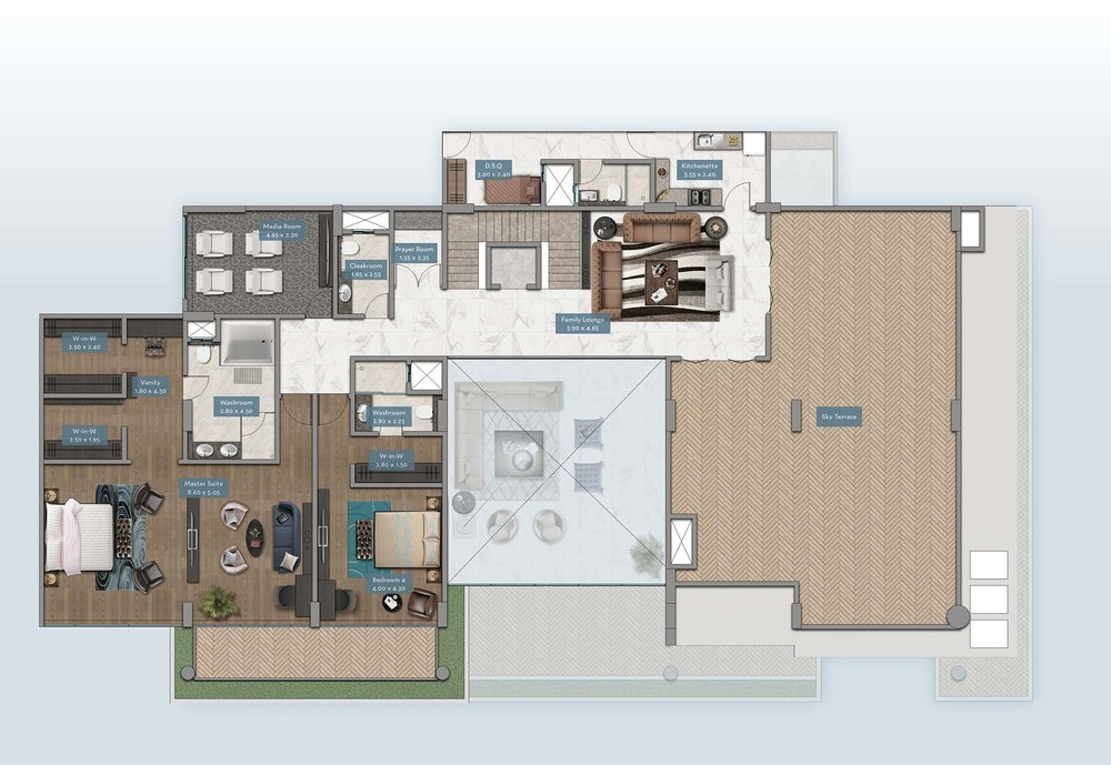 Shanzu View Penthouse | Floorplan | No. P1 & P6 - Level 2