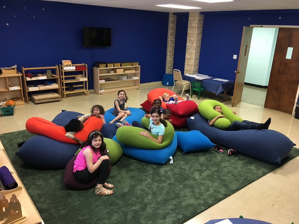 Here are some of our Godly Play 1 students relaxing and having some time to get to know each other in our beautiful Godly Play 1 classroom, a dedicated space for the youth of our church.