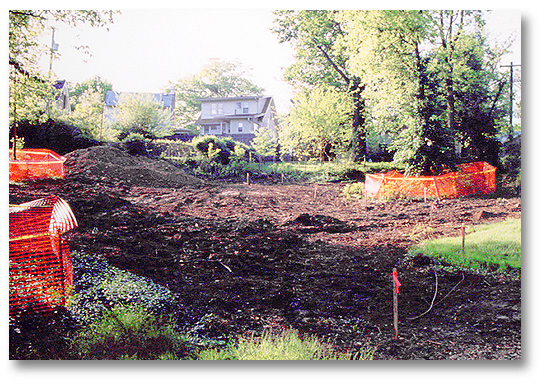 Construction begins on the Tranquility Path and the foundations are set for the Pavilion Shelter and the Children's Play Area. April/May, 2004