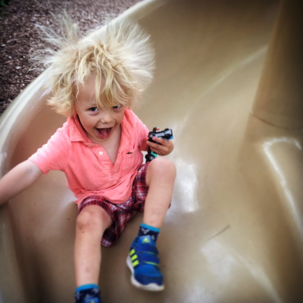 A typical park visitor enjoying the slide.