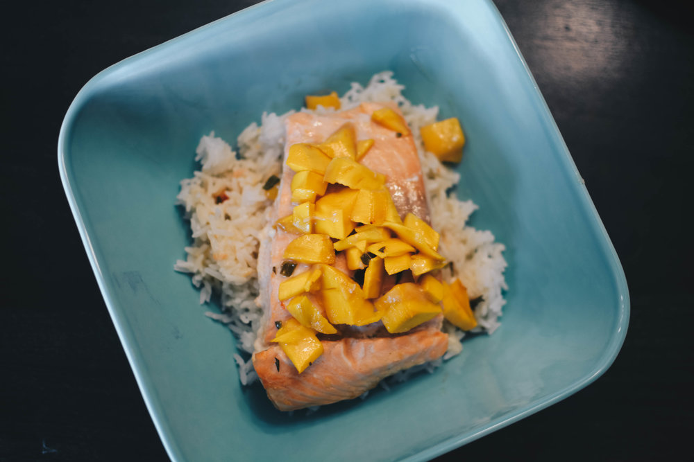 salmon mangoes